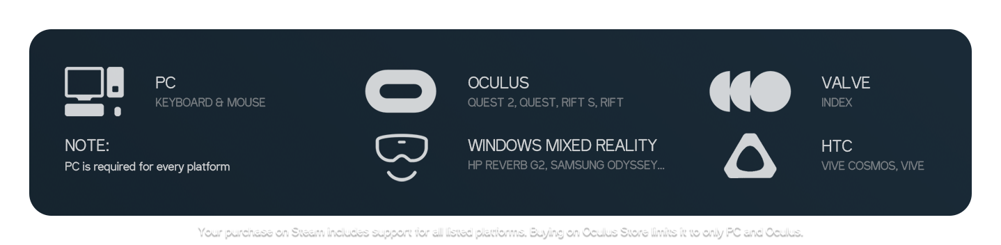 Supported VR headsets